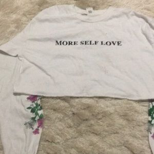 """""""More self love"""" crop with floral arm designs"""